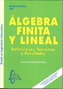 Álgebra finita y lineal : definiciones, teoremas y resultados / Juan de Burgos Román