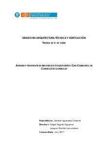 Análisis y proyecto de mejora del Polideportivo Can Carbonell en Cornellà de Llobregat