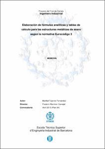 Elaboración de fórmulas analíticas y tablas de  cálculo para las estructuras metálicas de acero según la normativa Eurocódigo 3